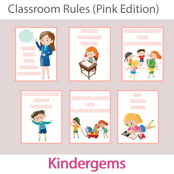 Classroom Rules (Pink Edition) Instant Download PDF; Presc