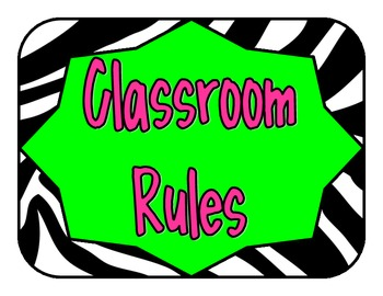 Classroom Rules Pink and Green