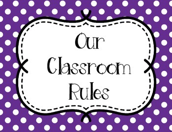 Classroom Rules - Pink and Purple Polka Dots
