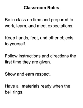 Classroom Rules: Plain Version