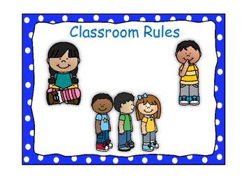 Classroom Rules-Polka Dot Theme (Blue)