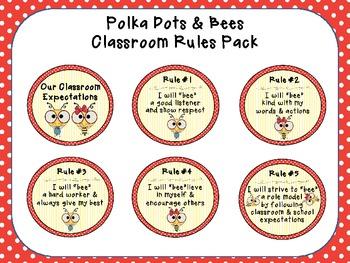 Classroom Rules - Polka Dots & Bees Theme