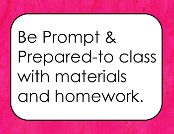 Classroom Rules Positive (Hot Pink Watercolor Background)