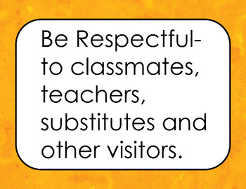 Classroom Rules Positive (Orange Watercolor Background)