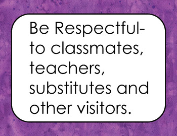 Classroom Rules Positive (Purple Watercolor Background)