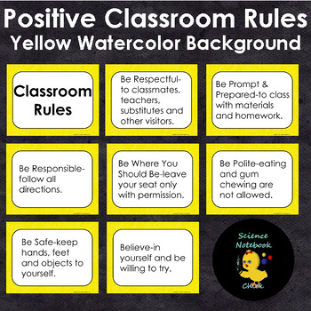 Classroom Rules Positive (Yellow Watercolor Background)