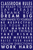 Classroom Rules Poster Blue