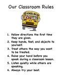 Classroom Rules Poster - 6 Easy to Understand Rules