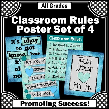 Classroom Rules Posters Decor BUNDLE Blue and Green