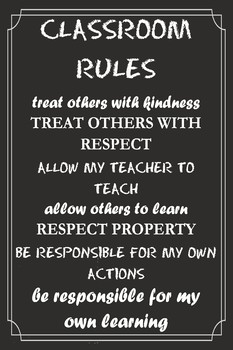 Classroom Rules Poster (Black 2)