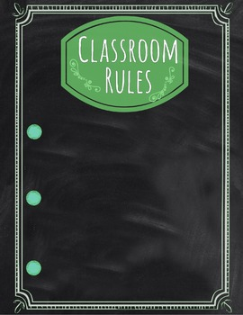Classroom Rules Poster: Green & Blank