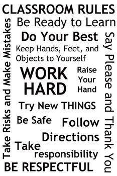 Classroom Rules - Poster Idea (Black & White)
