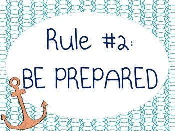 Classroom Rules Poster - Nautical Theme