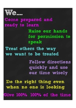 Classroom Rules Poster-Neon Chalkboard
