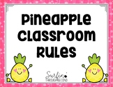 Classroom Rules Poster Pineapple Theme