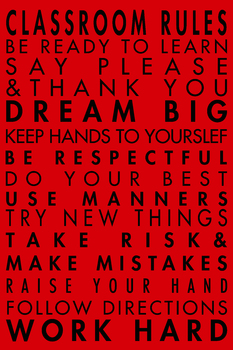 Classroom Rules Poster Red