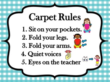 Classroom Rules Poster Set - Gingham