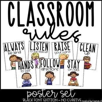 Classroom Rules Poster Set - No Cursive