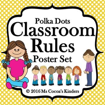 Classroom Rules Poster Set - Polka Dots