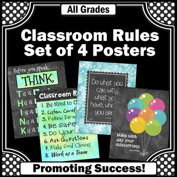 Classroom Rules Set of 4 Posters for Back to School Decor
