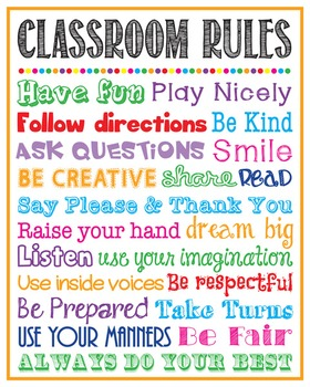 Classroom Rules Poster Sign Printable School Rules Teacher Gift Decor
