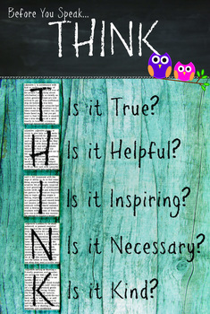 Classroom Rules Poster - Think - Before you speak - Owls