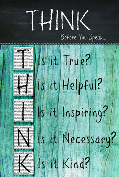 Classroom Rules Poster - Think - Before you speak