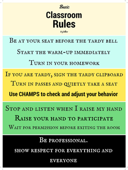 Classroom Rules Poster and CHAMPS integration (18 x24)