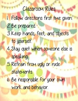 Classroom Rules Poster for Elementary Classroom