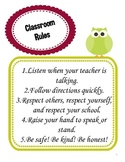 Classroom Rules Poster with Five Simple Rules