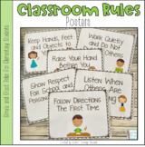 Classroom Rules Posters Dots or Chevron
