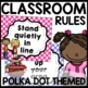 Classroom Rules Posters (Polka Dot turquoise, pink, purple, lime green)