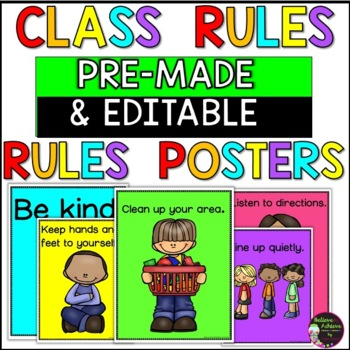 Classroom Rules Posters -15 posters (color and black and w