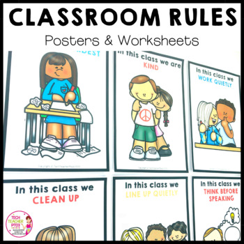 Classroom Rules Posters 30 Bright Cheerful Posters and Worksheets