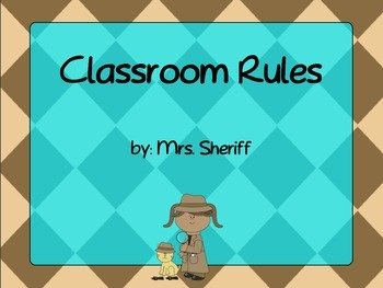 Classroom Rules Posters Based on the 3 R's - Detective Theme