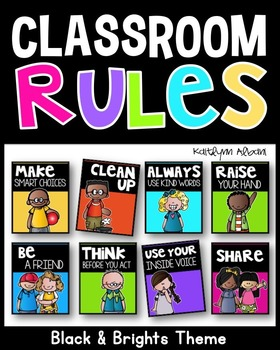 Classroom Rules Posters (Black and Brights)