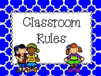 Classroom Rules Posters - Blue and Green Quatrefoil