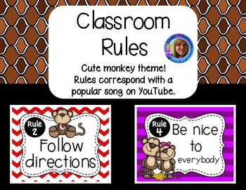 Classroom Rules Posters {Bono the Monkey Theme}