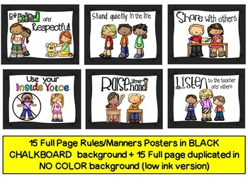 Classroom Rules Posters (CHALKBOARD EDITION+ No Color Background included)