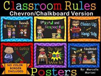 Classroom Rules Posters CHEVRON BACKGROUND & CHALKBOARD BL
