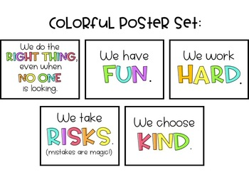 Classroom Rules Posters- Colorful & Black and White