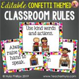 Classroom Rules Posters - Confetti Theme - Editable