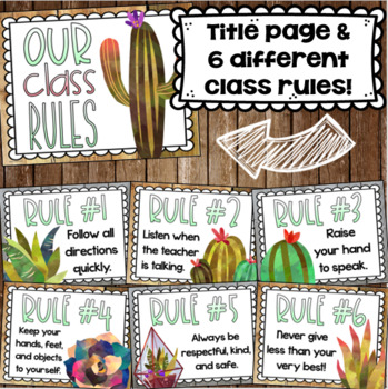 Classroom Rules Posters EDITABLE Back to School Rustic Farmhouse Chic Theme