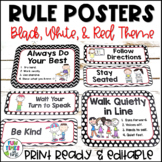 Classroom Rules Posters EDITABLE   Black, White, & Red Decor
