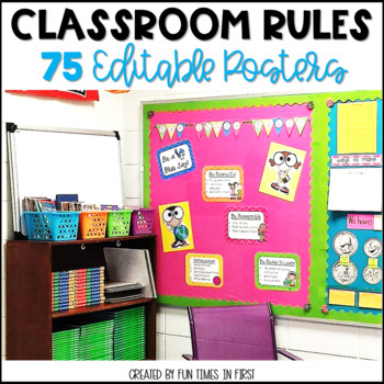Classroom Rules Posters EDITABLE   4 Themes