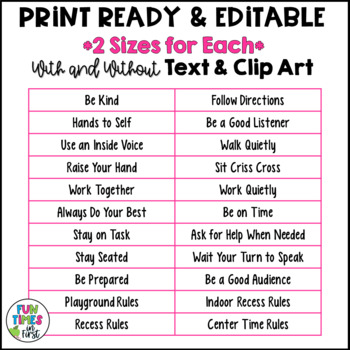 Classroom Rules Posters {Editable~Black and White Theme}