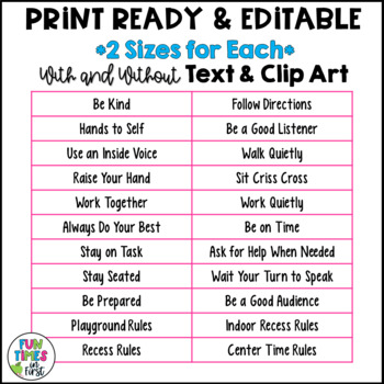 Classroom Rules Posters {Editable~Bright Chevron Theme}