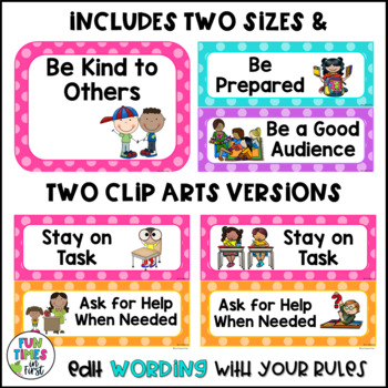 Classroom Rules Posters {Editable~Bright Polka Dot Theme}