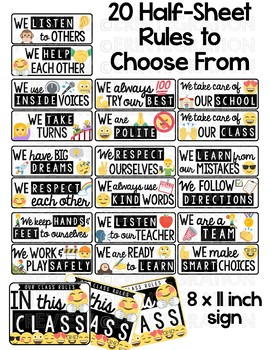 Classroom Rules Posters: Emoji Classroom Decor