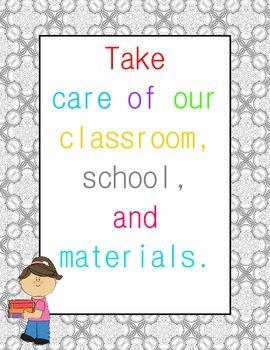 Classroom Rules Posters {Gray Damask Border}